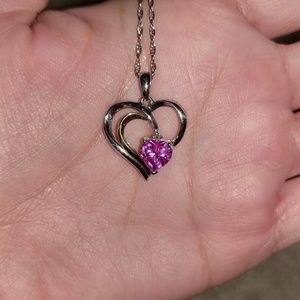 Sears SS pendant with lab created pink sapphire